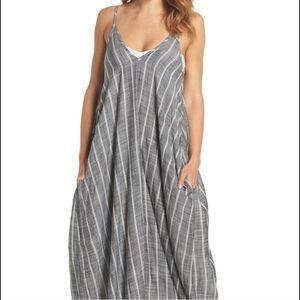 Elan Cover - Up Maxi dress in Grey white stripes